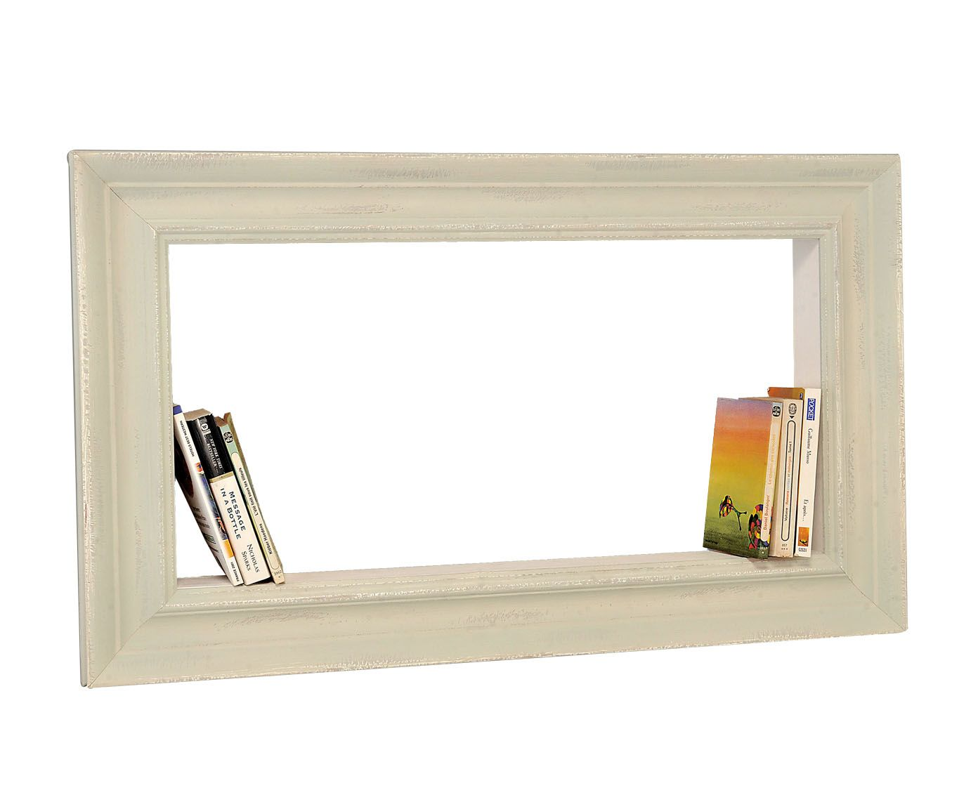do a series of frames w/ shadow box built-ins to support books.