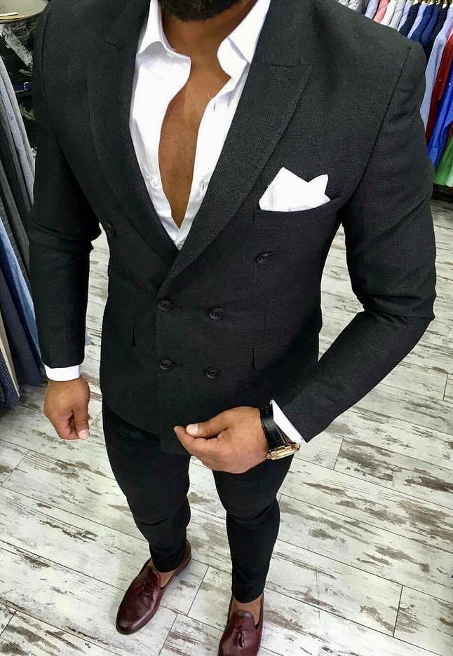 Beautiful Charcoal Grey Three Piece Double Breasted Men S Suit Over