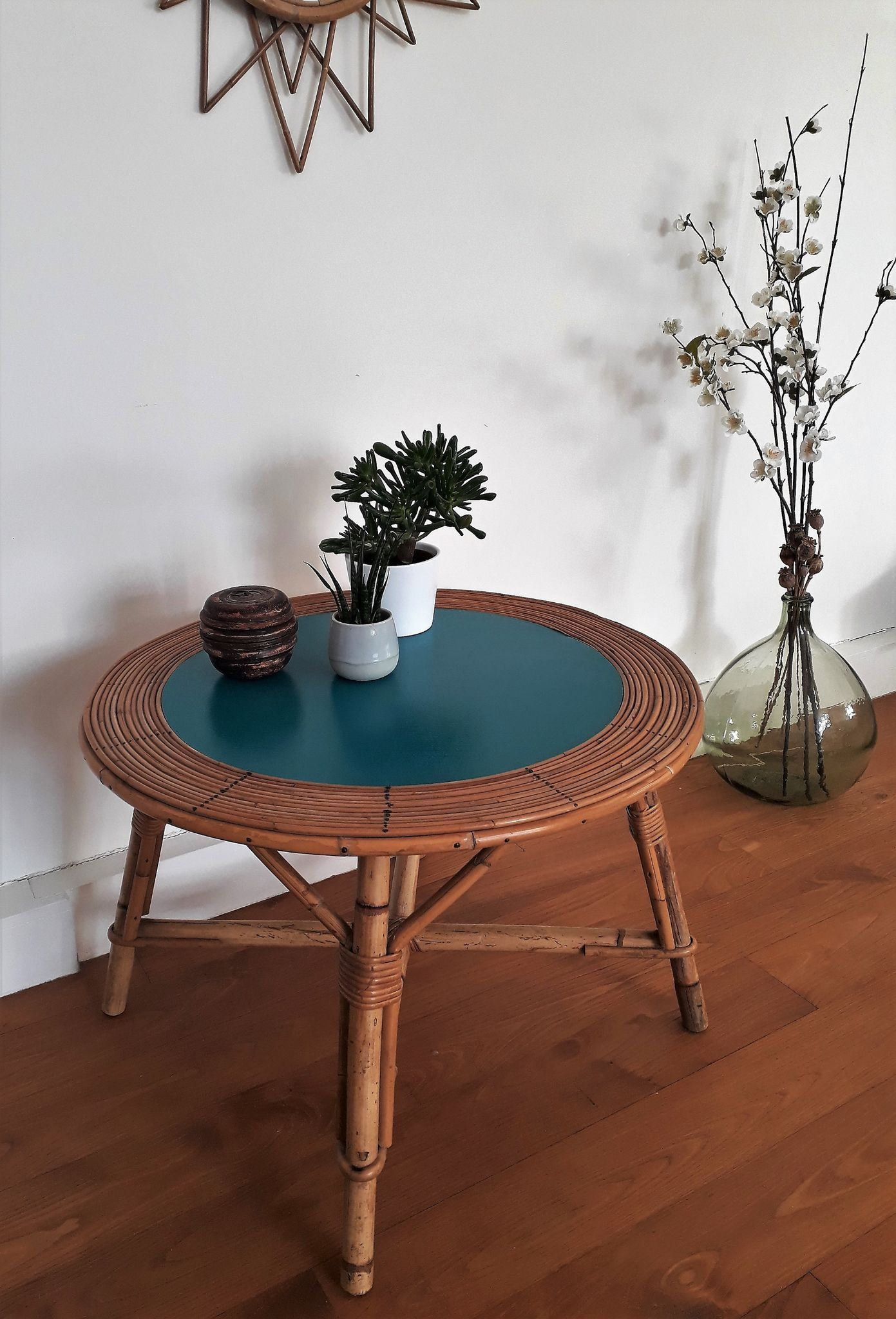 Table Basse Ronde Rotin Osier Bleu Acapulco Table Basse Table