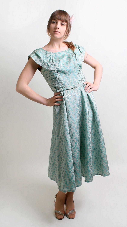 Vintage 1960s Dress Floral Metallic Brocade Aquamarine By Zwzzy 106 00 Vintage Dresses 1960s 1960 S Dress Dresses [ 1500 x 841 Pixel ]