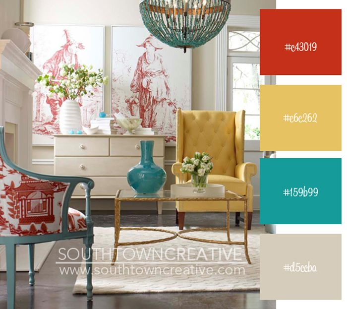 Love The Yellow Chair And The Toile And Turquoise Combo House Of Turquoise:  Coach Barn Giveaway + CR Laine Furniture
