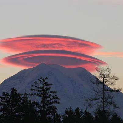 Lenticular clouds captured over Mt. Rainier. courtesy: knave