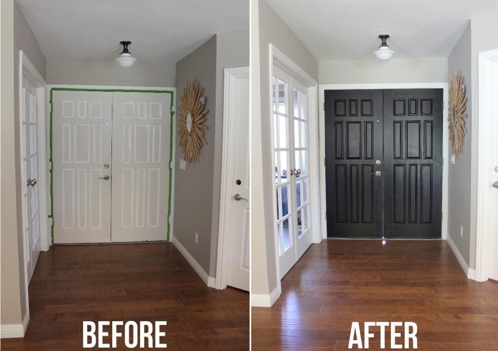 Paint Inside Front Door Black Grey Walls White Trim Black Interior Doors White Interior Doors
