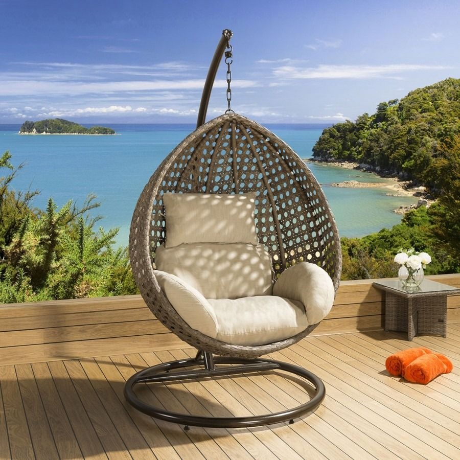 Luxury outdoor garden hanging chair mocha rattan beige cushion