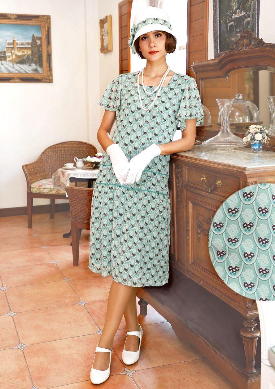 1920s Afternoon Dresses Tea Dresses 1920s Great Gatsby dress light green art deco print flutter sleeve 1920s high tea dress Lady Mary dress Downton Abbey dress 20s dress...