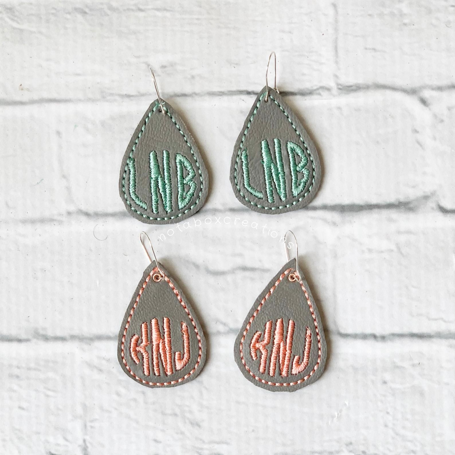 Monogrammed Teardrop Reversible Faux Leather Earring Earrings