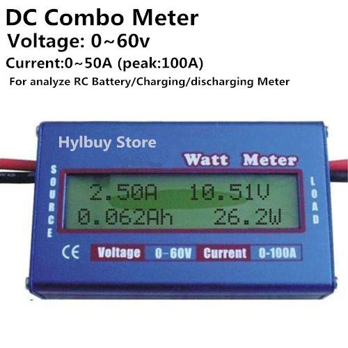 Charger Watt Meter: DC Combo Meter LCD Watt Power Volt Amp Monitor RC Battery
