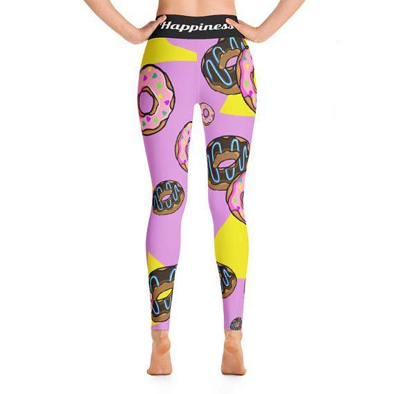 18f7203678fb Donut Yoga Leggings, Funky Yoga Pants, Unique Women's Leggings Donut, High  Waisted modern print work