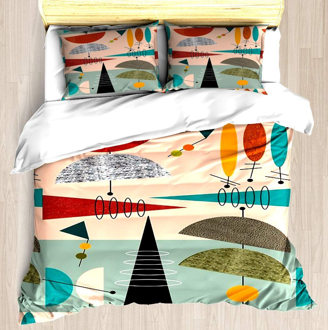 Ntcbed Mid Century Modern Abstract 59 Duvet Cover Set Soft Comforter Cover Pillowcase Bed Set Unique Printed Design Mid Century Bed Modern Duvet Covers Bed