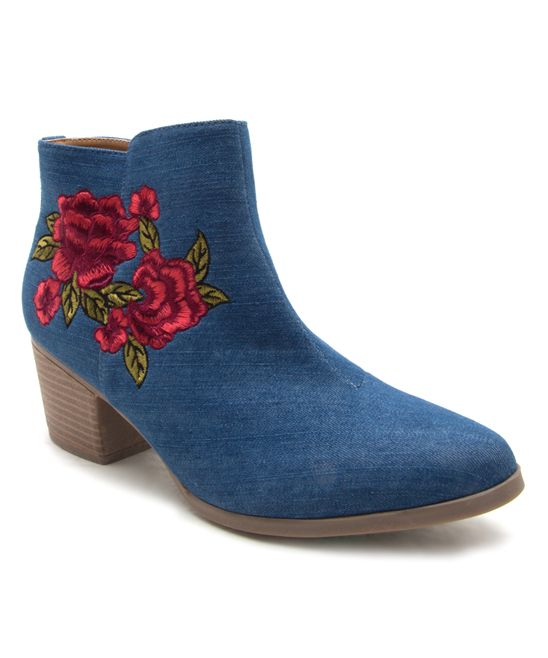 Blue Denim Floral Nero Bootie