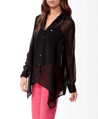 Sheer Collared Shirt | FOREVER 21 - 2000034558
