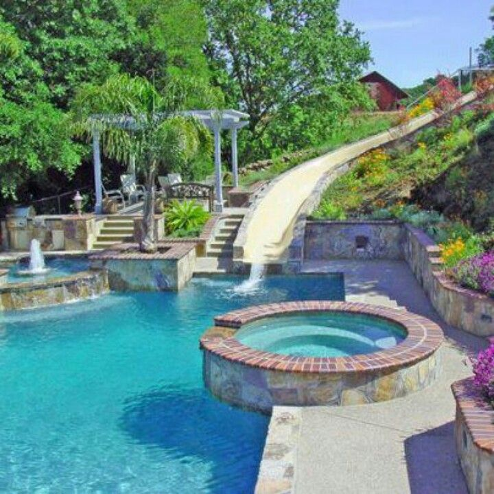 love the slide backyard poolsbig - Big Houses With Pools With Slides