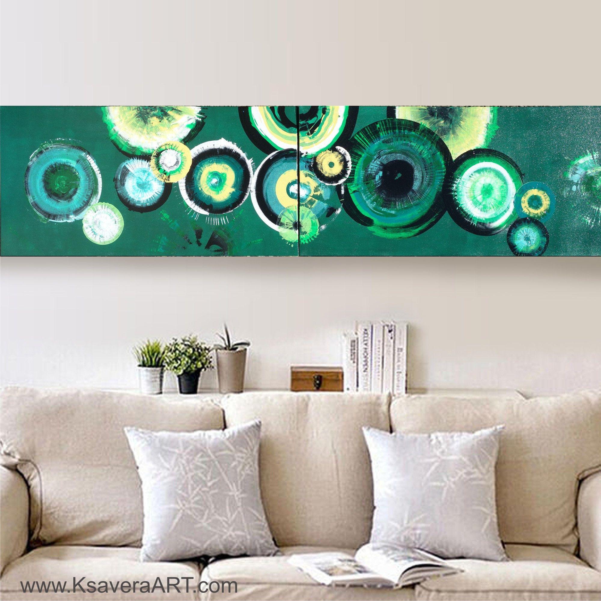 Emerald lime green circles abstract art long paintings