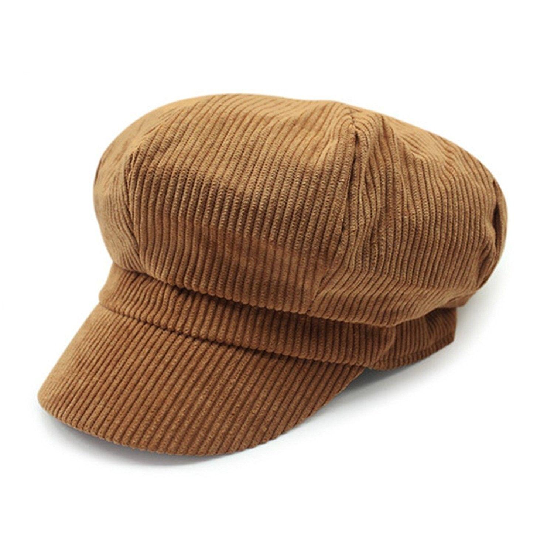 b719bd75852 Womens Retro Corduroy Ivy Newsboy Paperboy Cabbie Gatsby Painter Hats Caps  - Tan - C21863LXW3E - Hats   Caps