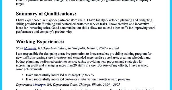 Crafting a Great Assistant Store Manager Resume Vina Share - department manager resume