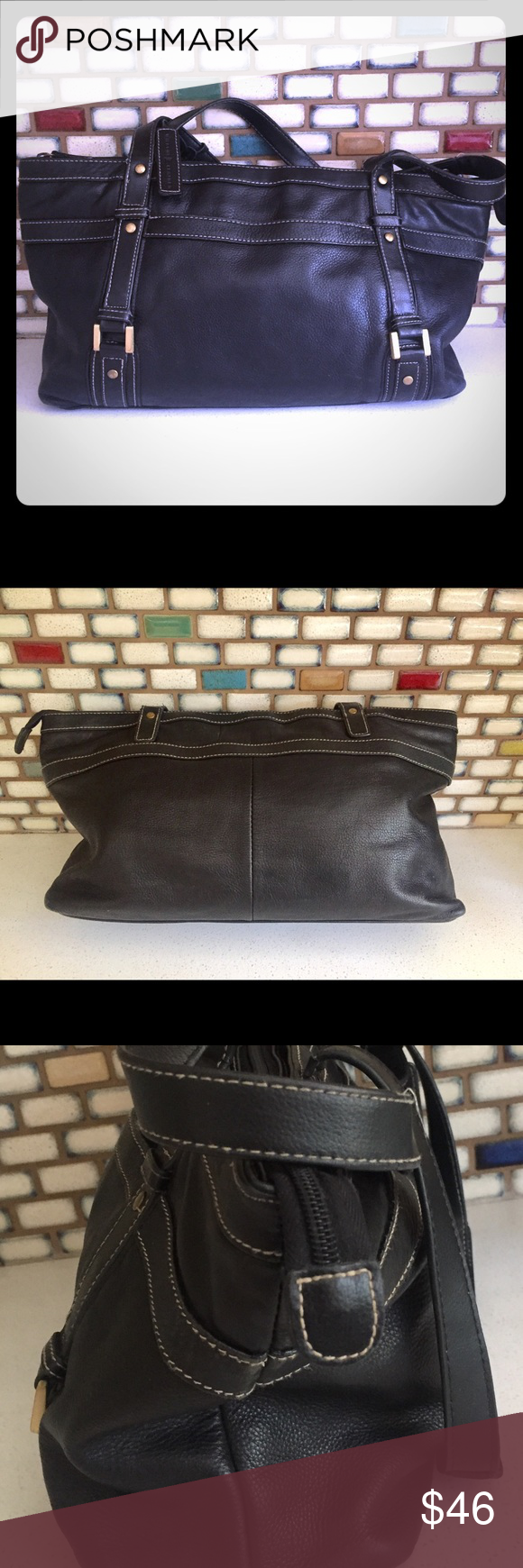 Black Wilson's Leather Purse Hand Bag Buttery Soft