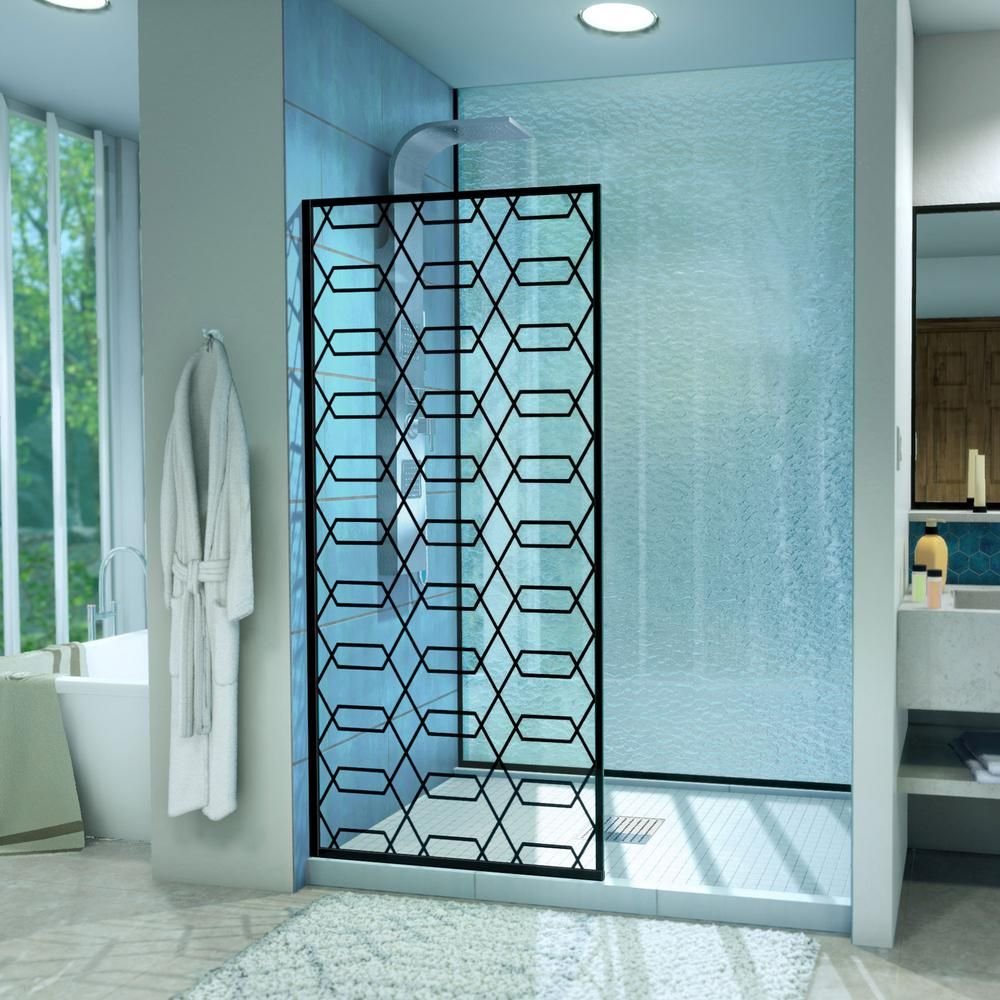 Dreamline Linea Maze 34 In W X 72 In H Frameless Fixed Shower Door In Satin Black Without Handle Shower Doors Black Shower Framed Shower Door