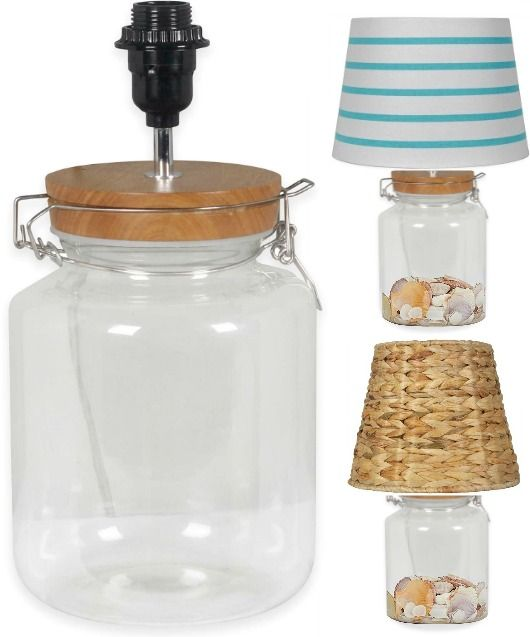 Fillable Glass Jar Lamp With Mix Match Shade Glass Jar Lamps Jar Lamp Glass Jar Table Lamp
