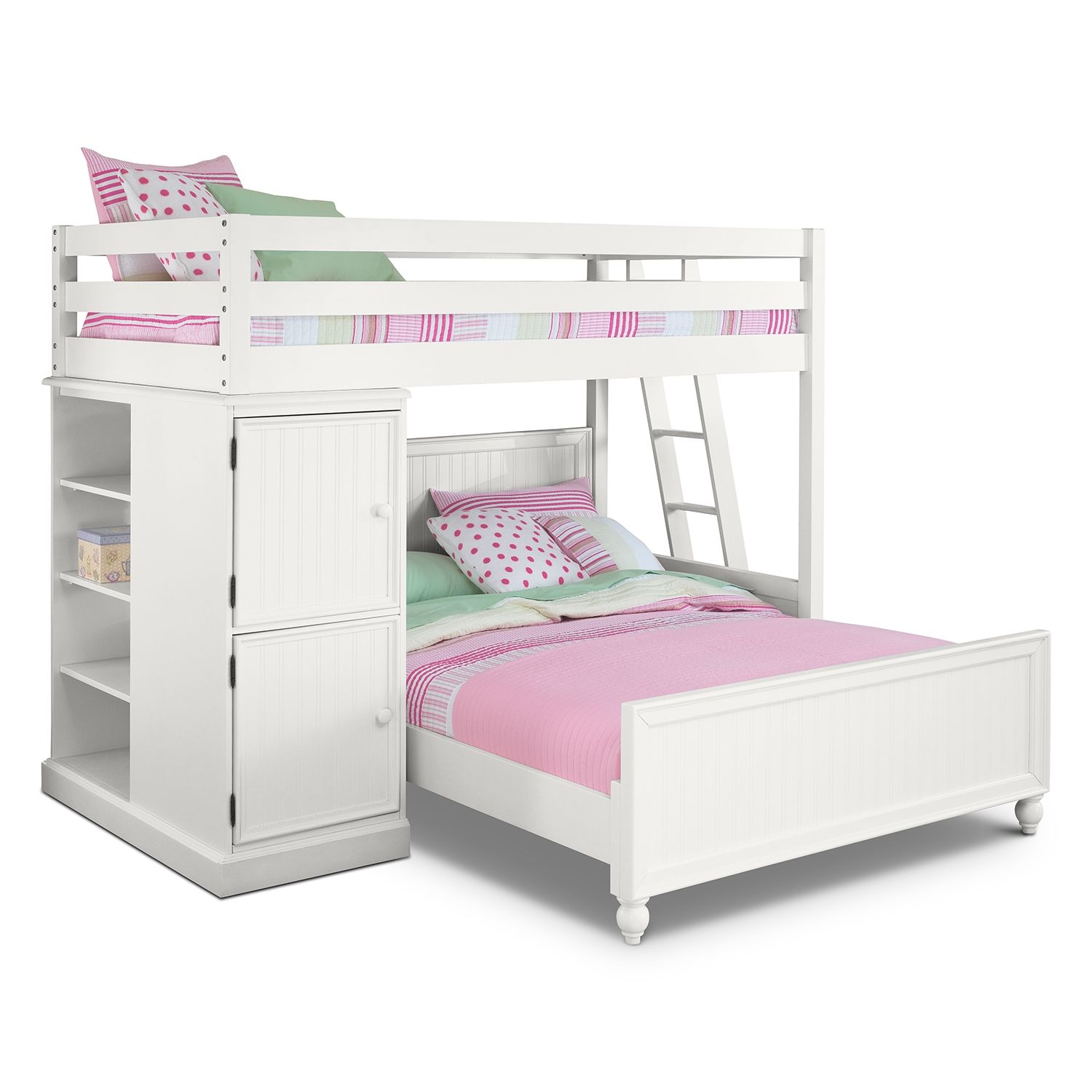 Colorworks White II Loft Bed with Full Bed   American Signature ...
