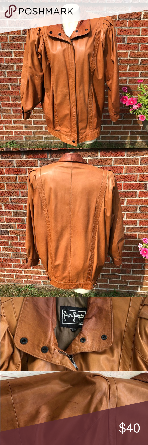 Gino Di Giorgio By Comint Vintage Brown Leather M Brown Leather Jacket Vintage Brown Brown Leather [ 1740 x 580 Pixel ]