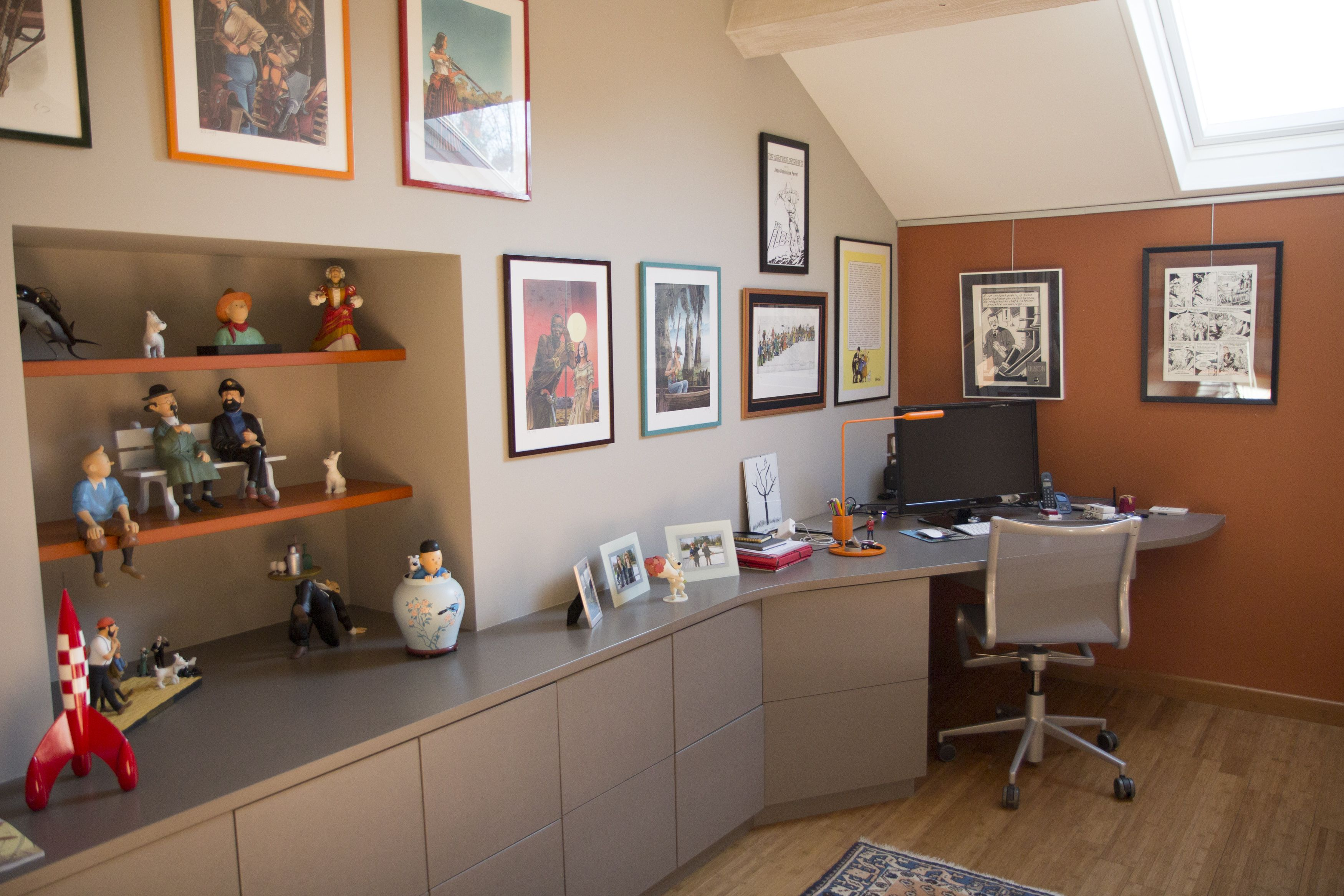 Rénovation mezzanine bureau maison de campagne teinte chaude