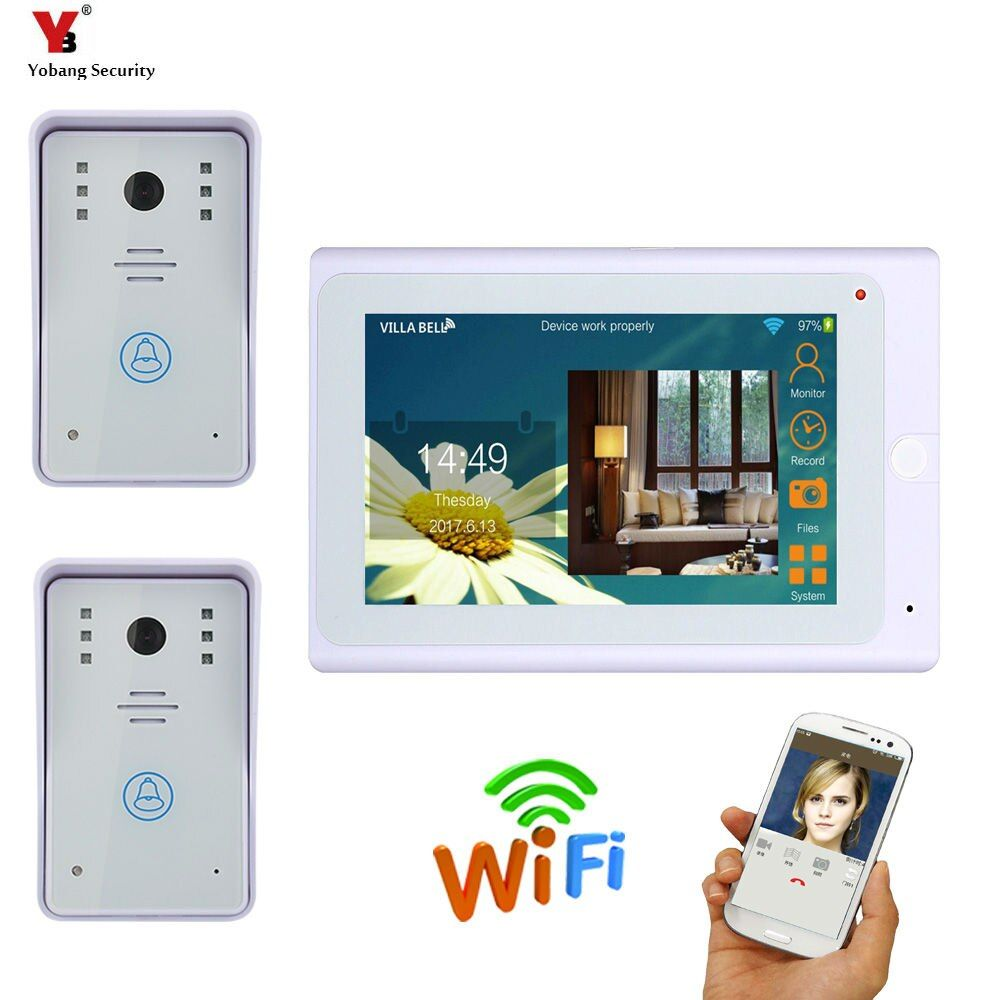 Special Offer For Yobangsecurity 7 Inch Screen Wifi Wireless Video Door Phone Doorbell Camera Video Door Entry Intercom System 2 Camera 1 Monitor