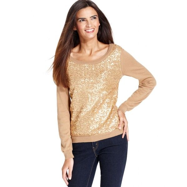 Debbie Morgan Petite Sweater, Long-Sleeve Sequin Scoop-Neck ($6.99) ❤ liked on Polyvore