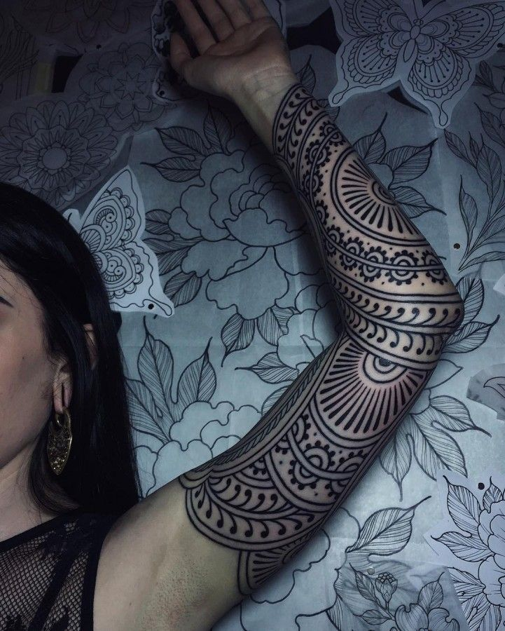 Full Arm Mehndi : Henna inspired full sleeve tattoo by savannahcolleen
