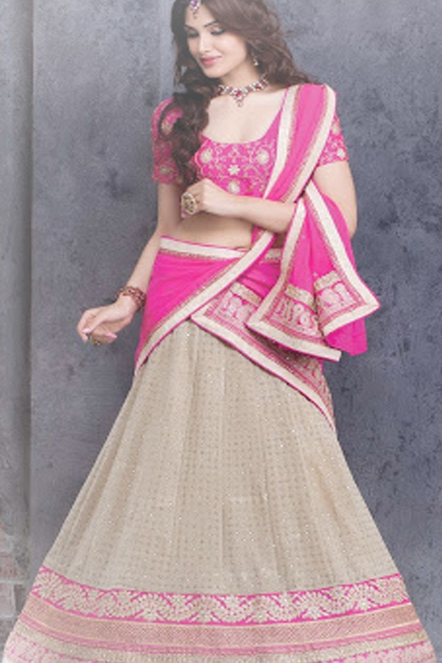 Cream & Pink Designer Lehenga Choli (With images
