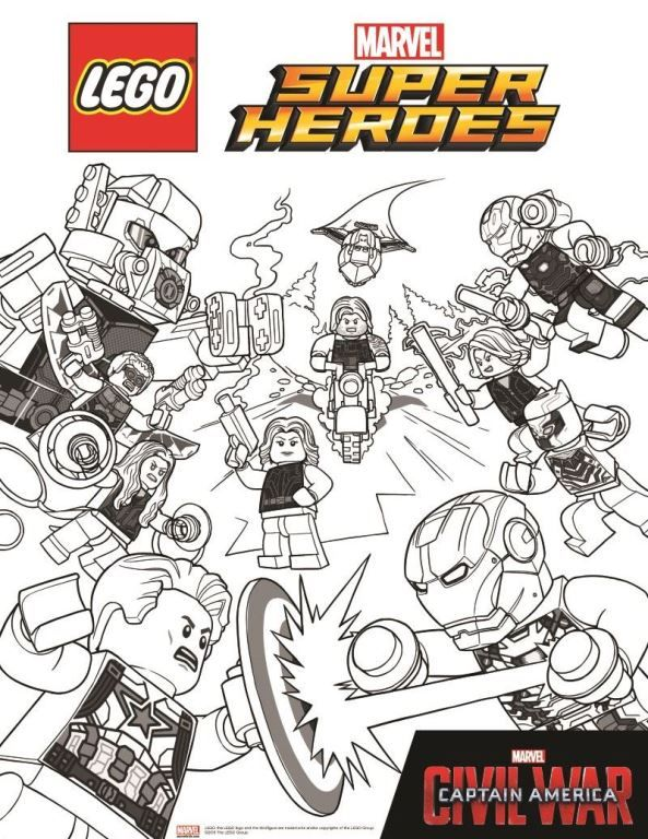 Coloring Page Lego Marvel Avengers Avengers Civil War 2 On