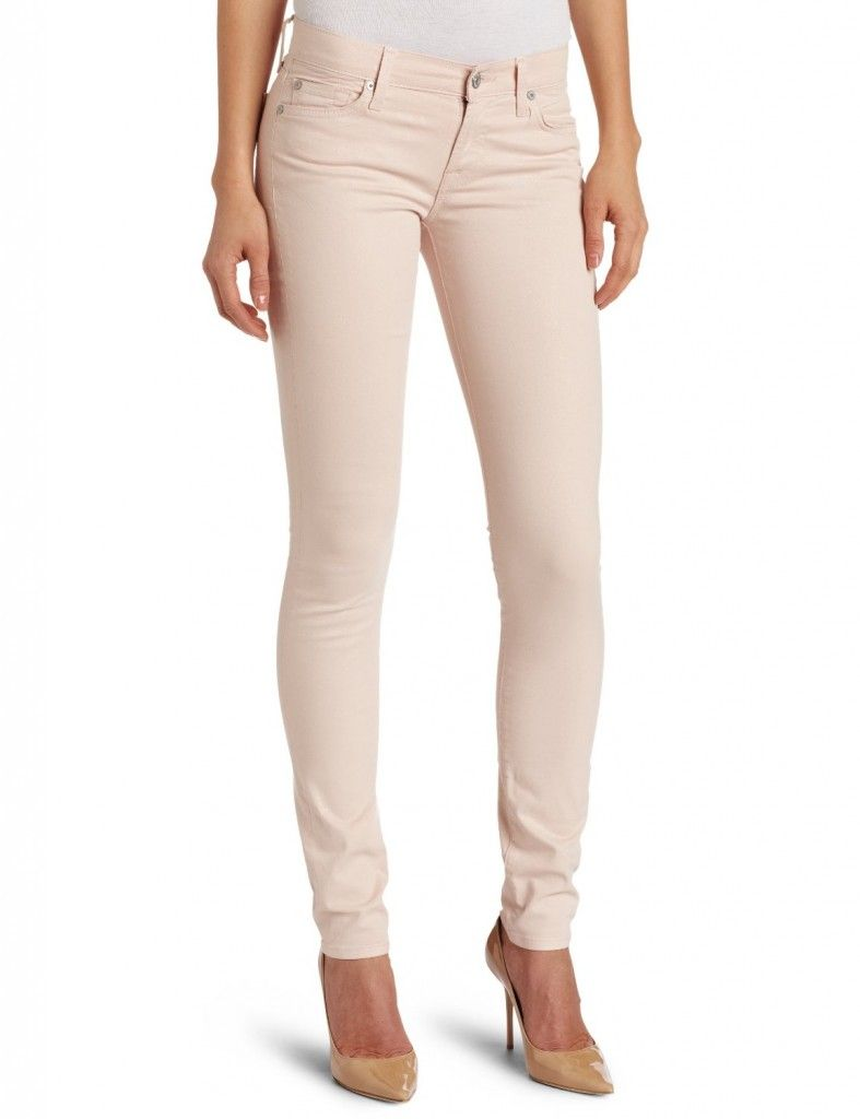 3. Seven for All Mankind The Skinny Second Skin Legging in Blush Lustre Shimmer Denim    Price: $198.00 at 7forallmankind.com  This is a soft, pale pink that will make you want to wear these jeans almost every day in the spring. …