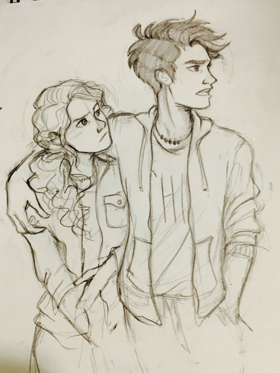 "vvivaa: ""I'm in the midst of a terrible art block but I found a cute photo of Andrew Garfield and Emma Stone and so I had to draw it as percabeth….I had no choice """