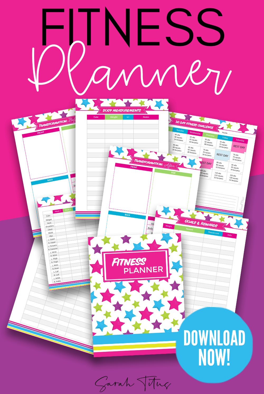 Organize your health goals with this printable fitness planner. These fitness printables include a b...