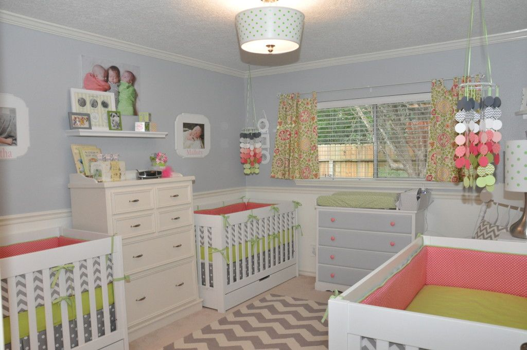Pink, Green and Gray Triplet Girls Nursery - #nursery #multiples #triplets