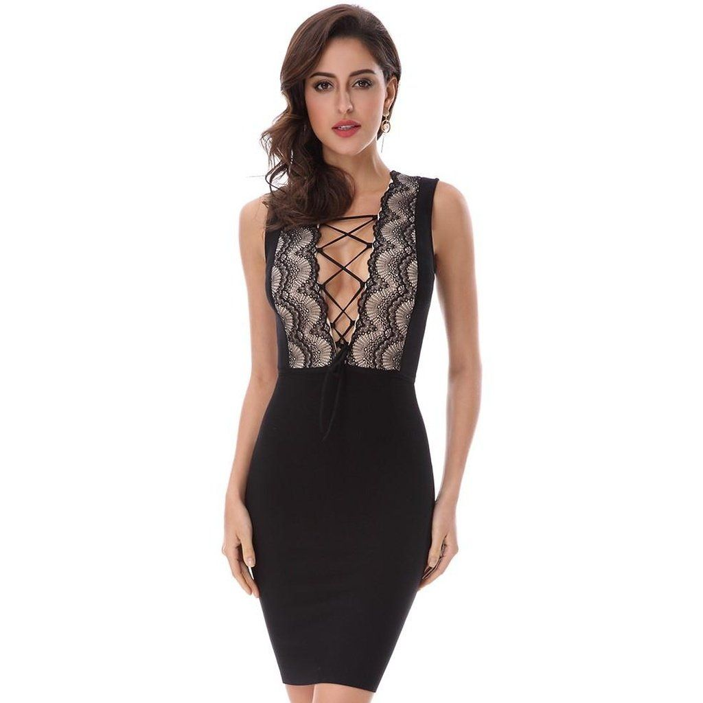 V neck black lace dress  Featured Item Black Lace Up Ban you can get it here