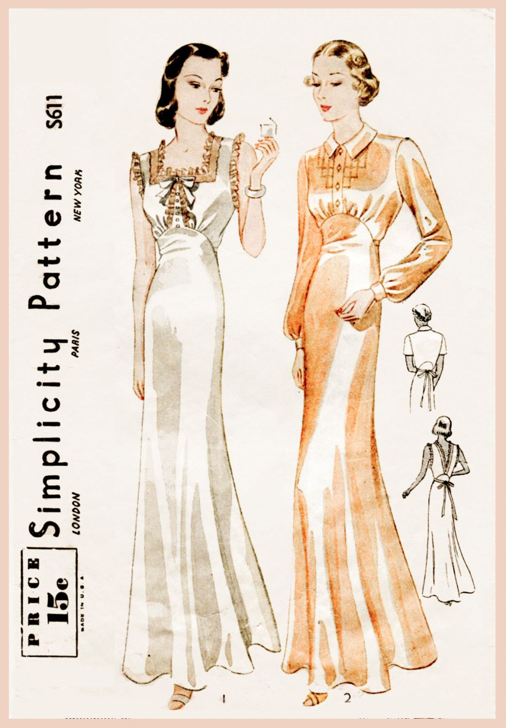 S s vintage sewing pattern gown negligee lingerie bust b