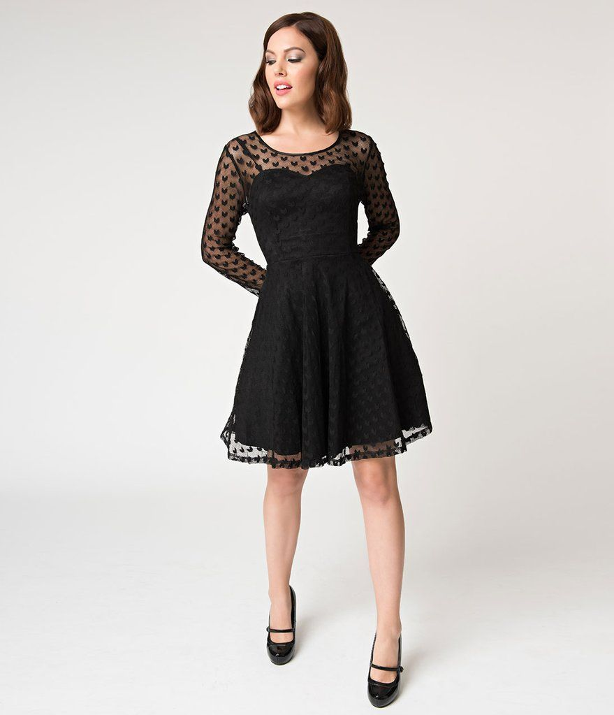 Black Mesh Heartcore Swiss Dotted Long Sleeved Fit Flare Dress Flare Dress Dresses Retro Inspired Dress [ 1023 x 879 Pixel ]