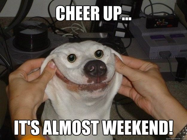 Funny Meme To Cheer Someone Up : Cheer up it s almost weekend forced happy dog