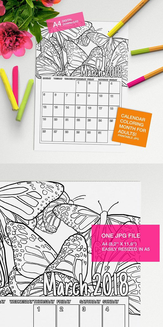 Make your own calendar with this March 2018 Calendar to color page!! #adultcoloring #coloringforadults #coloringpages #adultcoloringpages