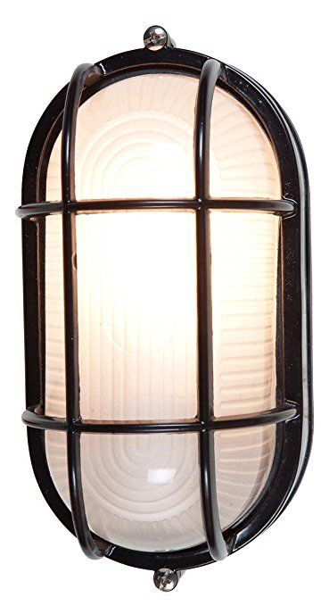 """Nauticus 6.5""""H Outdoor Bulkhead - Black Finish with Frosted Glass Shade"""