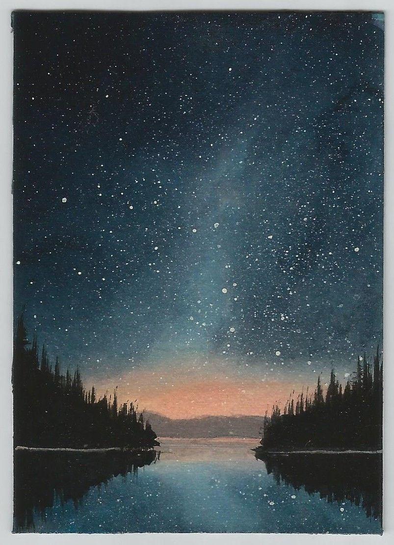Aceo Miniature Original Acrylic Painting Stars Night Lake Landscape By Cm Ebay Night Landscape Lake Painting Lake Landscape