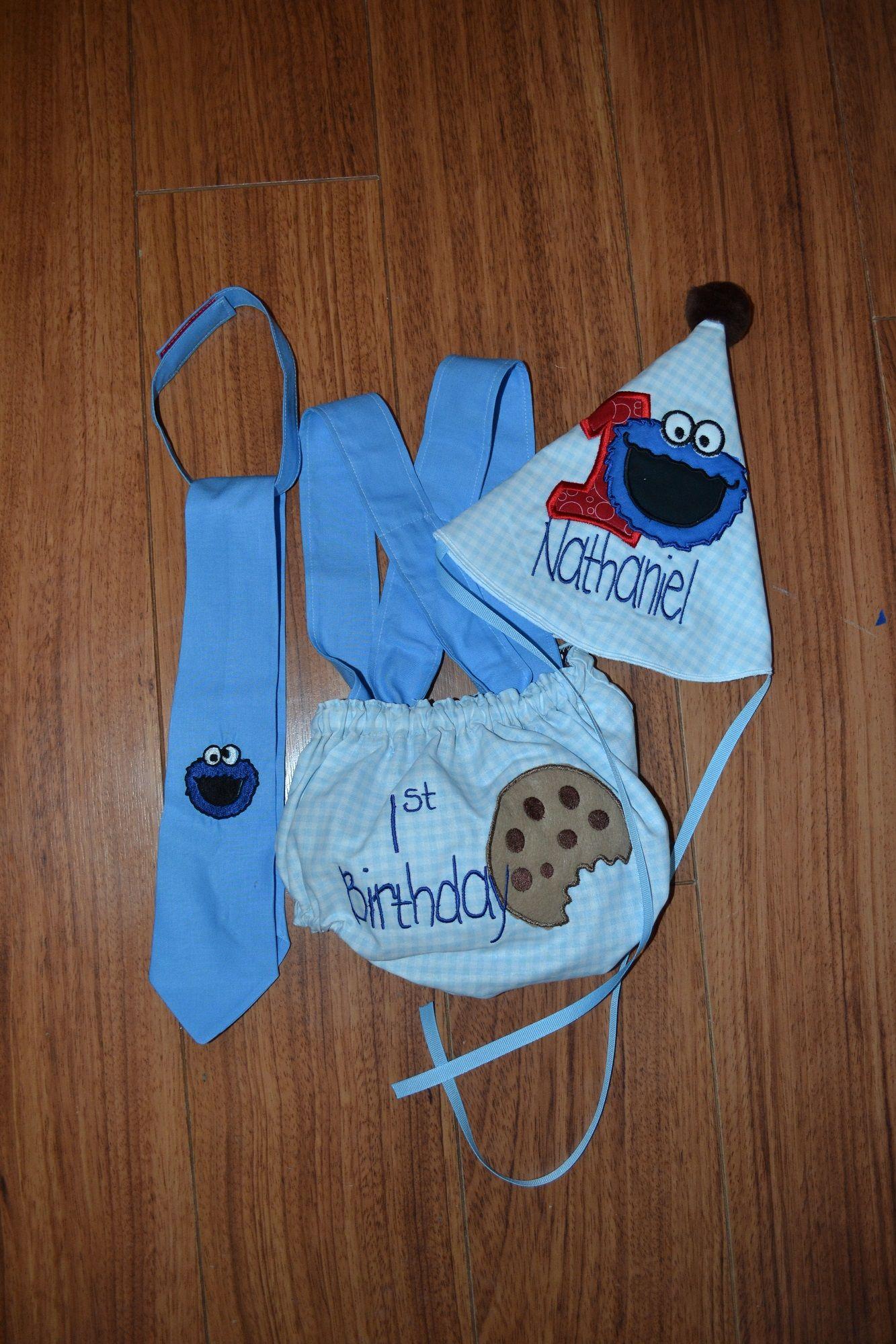 Sesame Street 1st Birthday Smash Cake Outfit Cookie Monster Smash