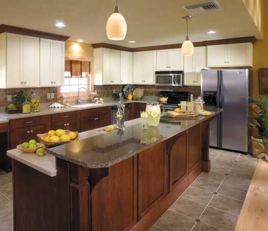 Kitchen Island Accent Color: Perimeter-StarMark Cabinetry Bedford Door Style In Oak