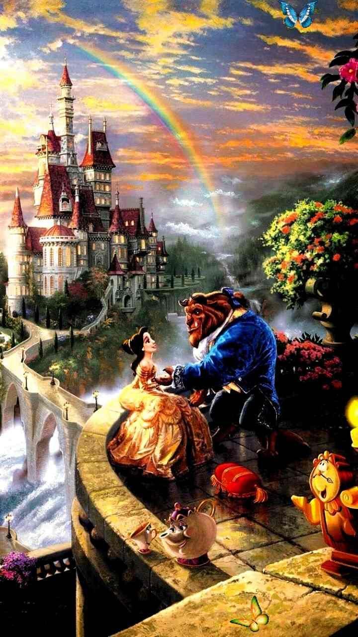 Disney's Beauty and the beast. Classic cartoon wallpaper