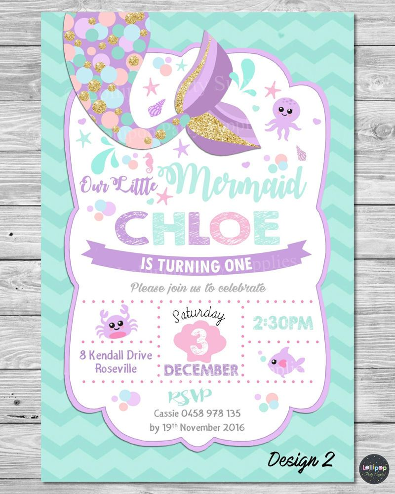 LITTLE MERMAID INVITATIONS INVITE 1ST FIRST BIRTHDAY PARTY SUPPLIES POOL OCEAN In Home Garden Parties Occasions Greeting Cards Invitations