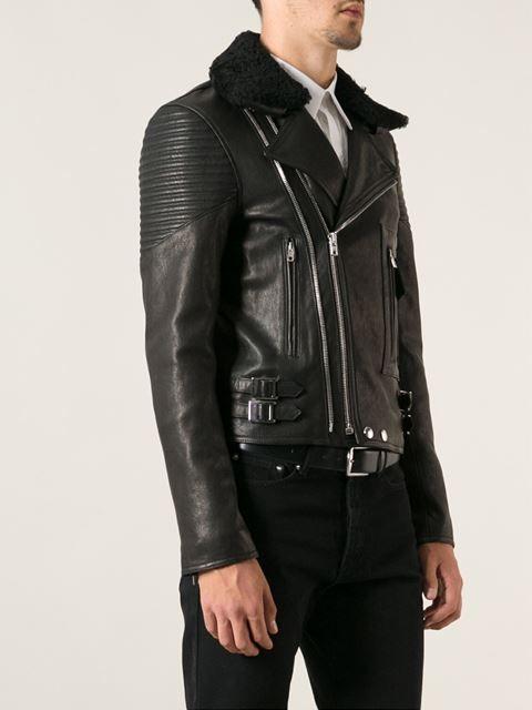 Givenchy Shearling Collar Biker Jacket Farfetch Lambskin Jacket Jackets Biker Jacket