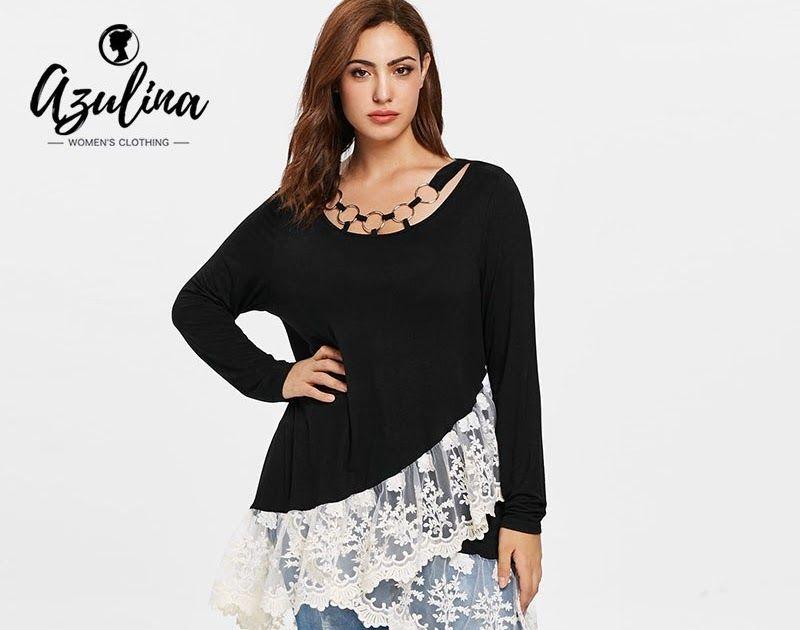 Buy Online AZULINA Plus Size Lace Trim Layered Tunic T-Shirt Autumn O Neck  Long Sleeve Long Ladies Tops Casual T Shirt 2018 Women Clothing 8fb7fc833309