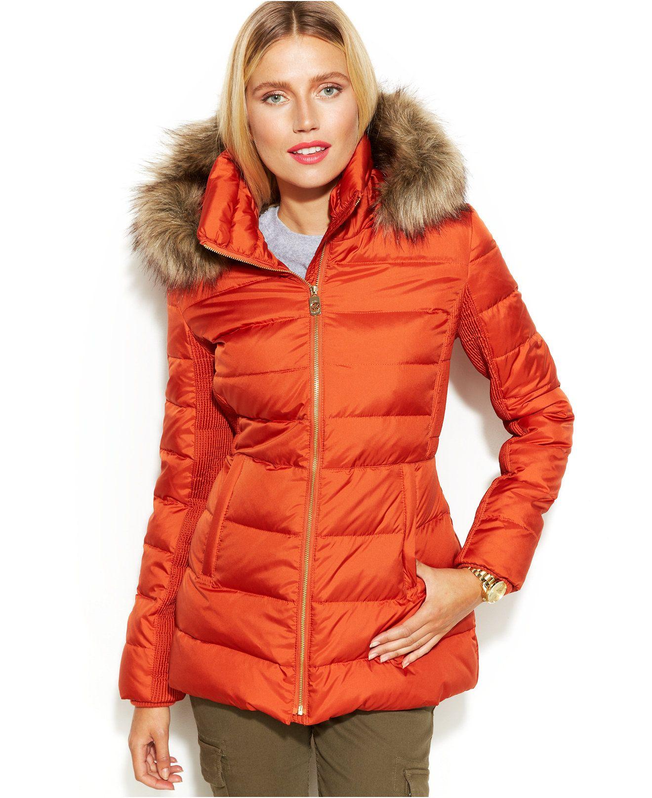 michael michael kors hooded faux fur trim down puffer coat coats women macy 39 s trend we. Black Bedroom Furniture Sets. Home Design Ideas