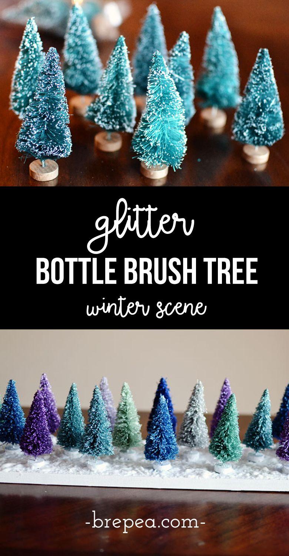Colorful Glitter Bottle Brush Christmas Tree Display Bre Pea Bottle Brush Christmas Trees Glitter Bottle Dollar Store Christmas Crafts