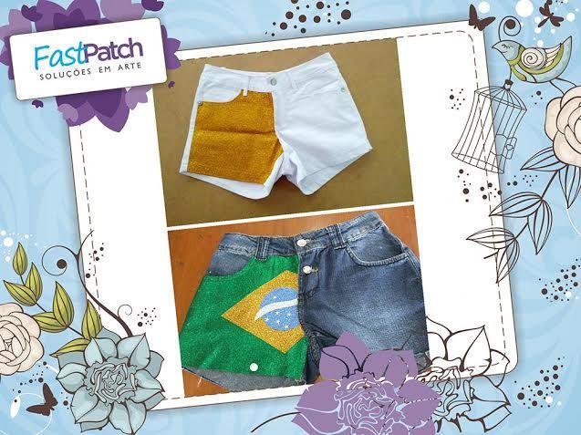 Recapitulando! Pessoal, lembram desses shorts maravilhosos que a Valéria customizou para arrasar na Copa? Você também pode fazer o seu!  http://www.fastpatch.com.br/#!product/prd1/1008592574/novo-mega-kit-brasil